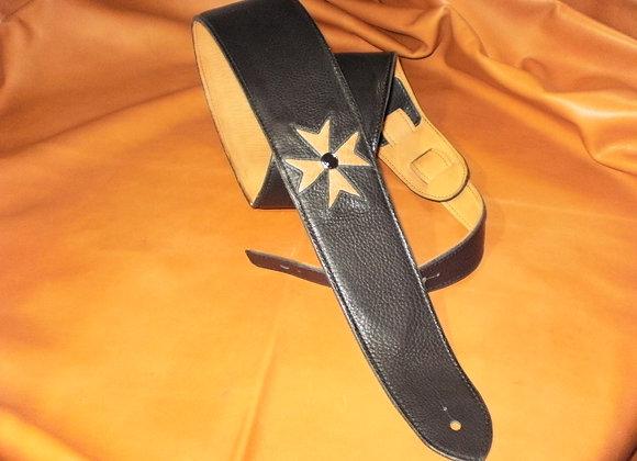 Black Leather Strap w/Exotic Teju Lizard Maltese Cross & Stud