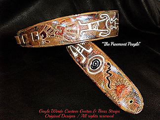 """The Ancients"" - Custom leather artisan guitar straps. Handcrafted intricate images were inlaid into hand-painted leather. Customized, personalized, orders. gaylewinde.com"