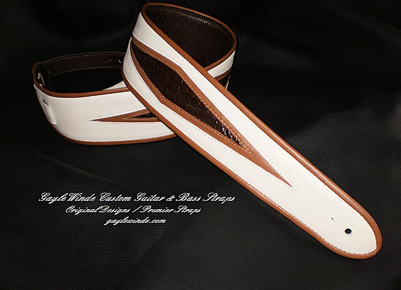 Custom Bone-White Strap w/Brown Authentic Alligator Diamonds