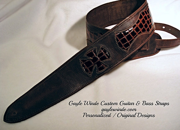 Brown Distressed Leather Strap w/Embossed Tortoise Print Leather Inlay