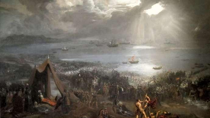 Clontarf, Batalla de Una pintura de principios de la década de 1800 que muestra la Batalla de Clontarf. Cortesía Isaacs Art Center Museum and Gallery, Kamuela, Hawái.