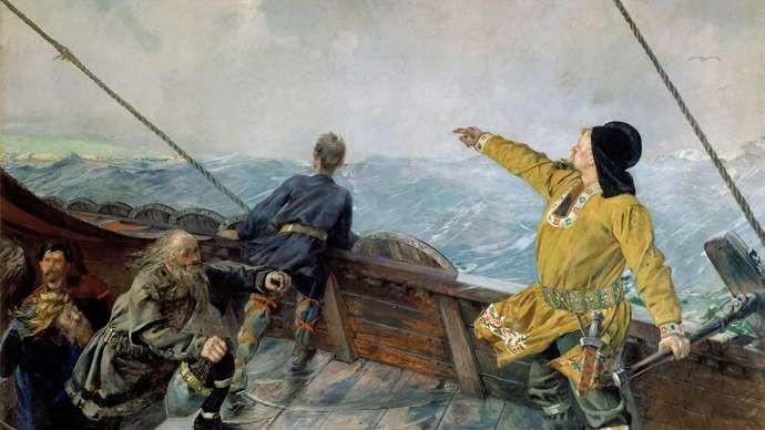 Leif Eriksson descubre América Leif Eriksson Descubre América,óleo sobre lienzo de Christian Krohg, 1892. © imágenes de bellas artes/fotostock de edad