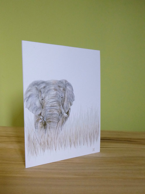 'On the Edge' Elephant Greeting card