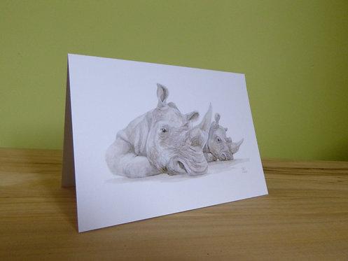 'Lazy Days' White Rhino Greeting card