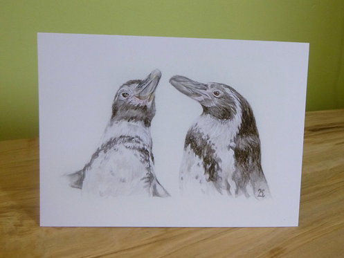 'Jackie & Peaches' Humboldt Penguin Greeting Card
