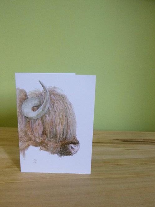 'Sunday Bedhead' Highland Cow Greeting card