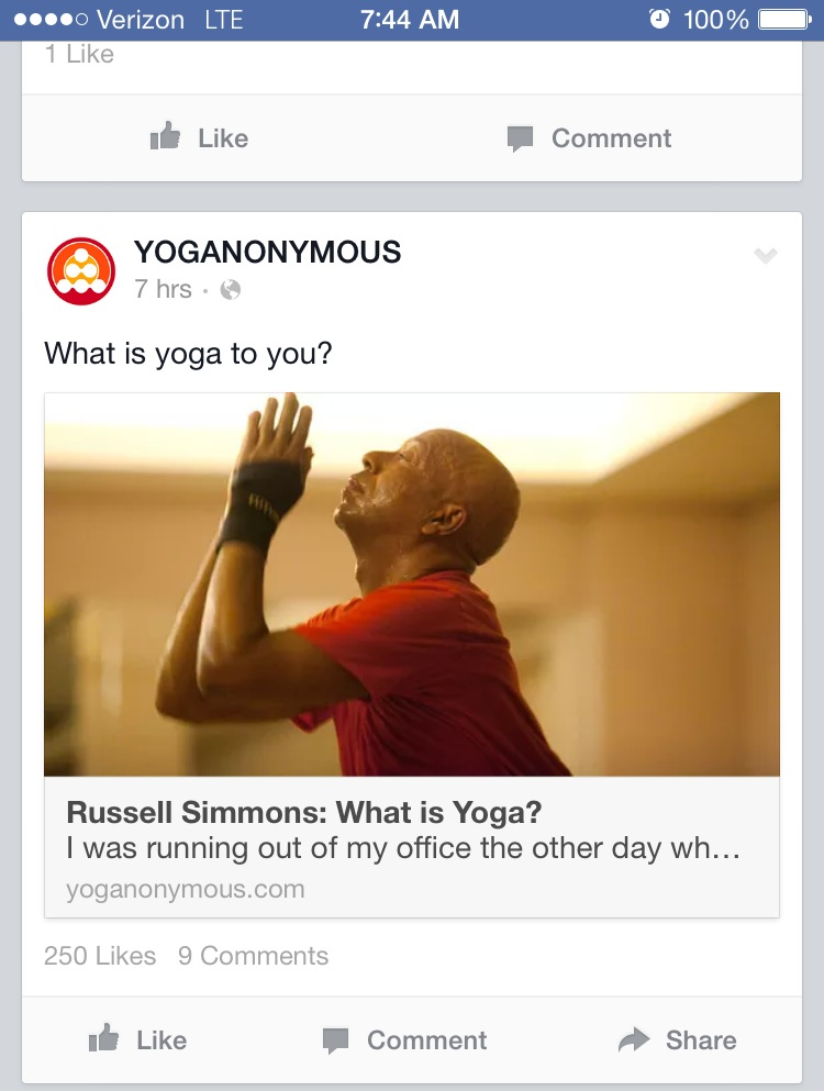 Facebook post by Yoga Anonymous
