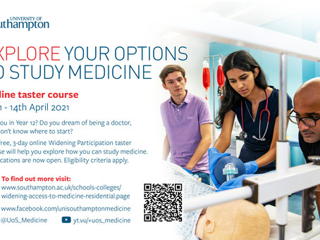 Want to study medicine? Widening Participation Taster Course (Yr 12, application deadline 21st Feb)