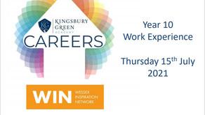 KGA Yr 10 Work Experience (Thurs 15th July 2021)