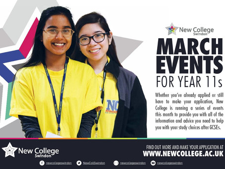 March events with New College Swindon (Yr 11, varied dates beginning Thurs 10th March)