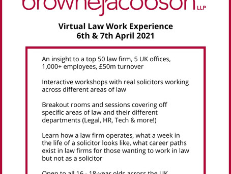 Law Virtual Work Experience (Yr 11 - 13, 6-7th April, apply ASAP)