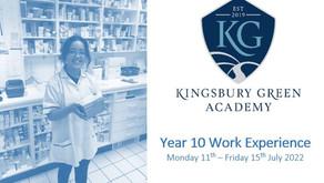 KGA Yr 10 Work Experience (Mon 11th - 15th July 2022)