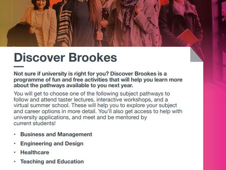 Discover Brookes - Is uni right for you? (Year 12, deadline Sun 7th Feb 2021)
