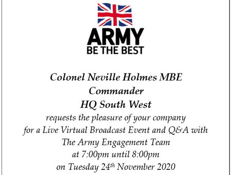 Army Virtual Engagement Event (All years, 24th Nov 7pm)