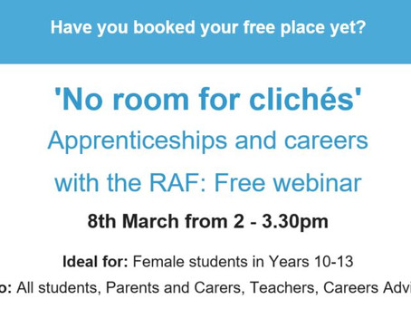 RAF - apprenticeships and careers webinar (Yr 10-13, 8th March 2-2.30pm, book asap)