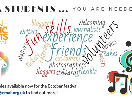 Volunteers Needed for Calne Music & Arts Festival October 2021.(All years, apply asap)