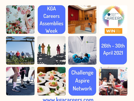KGA Careers Assemblies Week - Assembly Options (All years, 26th - 30th April 2021)