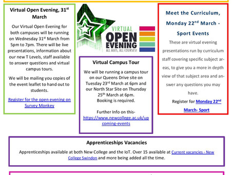 New College Swindon - March Newsletter: campus tours, apprenticeships, info events... (Yr 10-13)