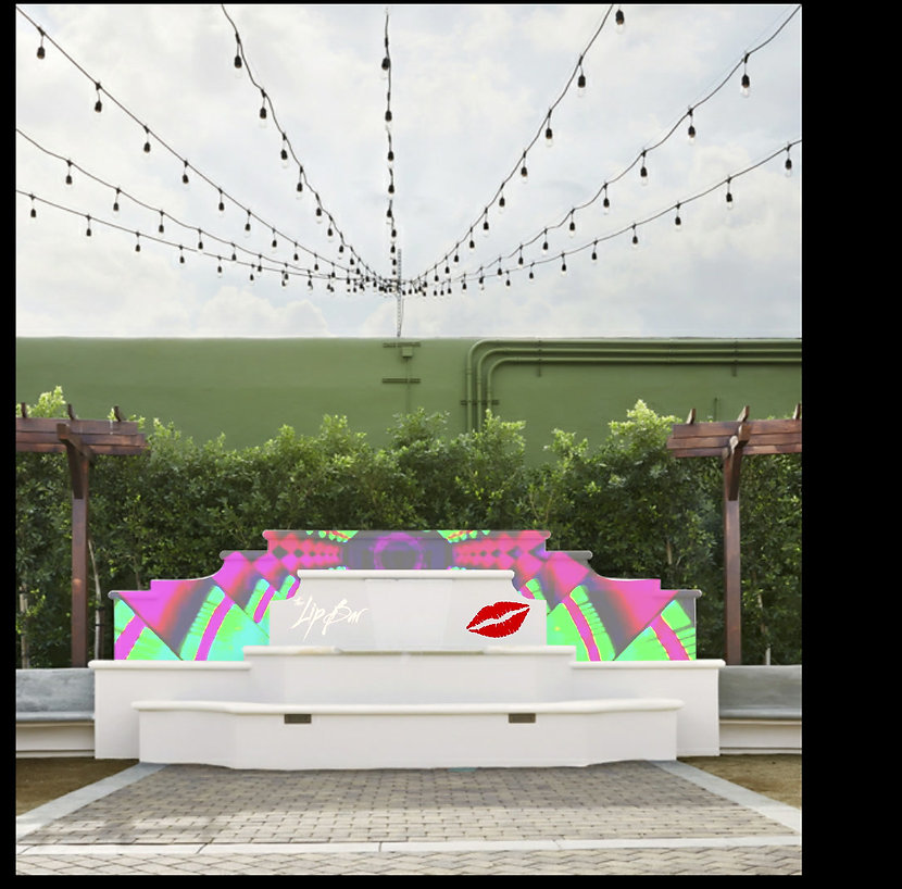 Lip Bar Video mapping on water fountain