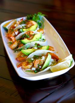 Cooking Chipolte agave shrimp tacos