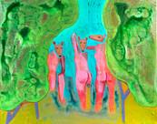 Three Bathers with Deer Heads