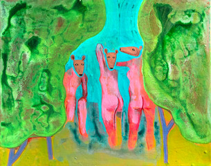 Three Deer Bathers