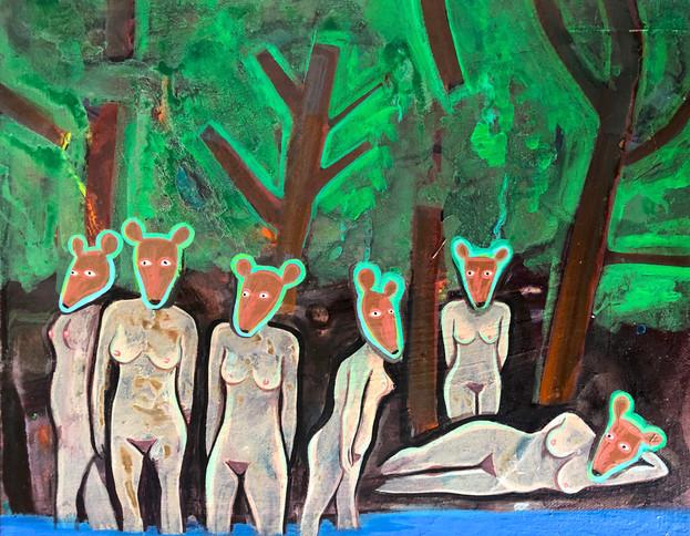 Bathers with Deer Heads