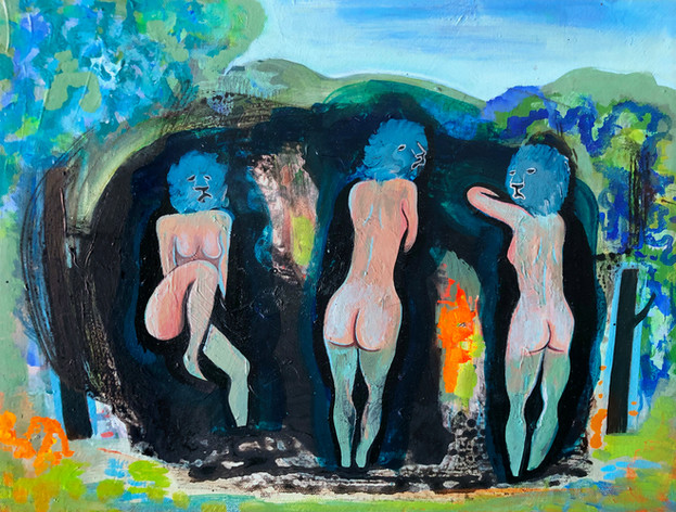 Three Bathers with Lion Heads