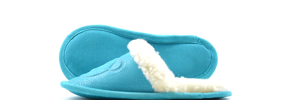 Krzneni otroški natikači - Turkizno modra
