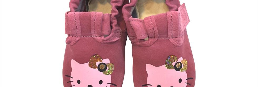 Usnjeni BabySoft copatki - Ciklam Kitty