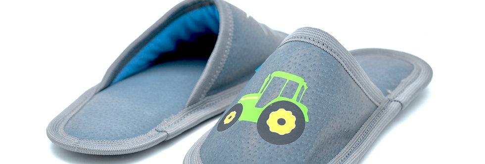 Usnjeni otroški natikači - Siv traktorček