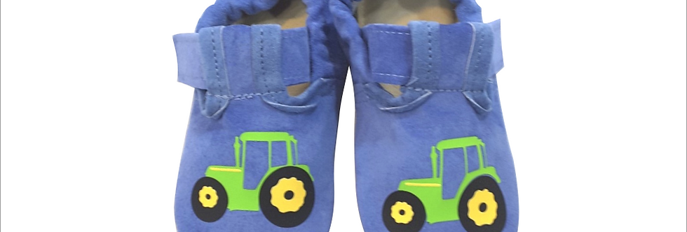 Usnjeni BabySoft copatki - Traktorček