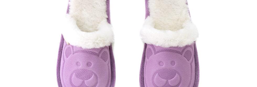 Krzneni Copati z Medvedkom - Svetlo vijolična