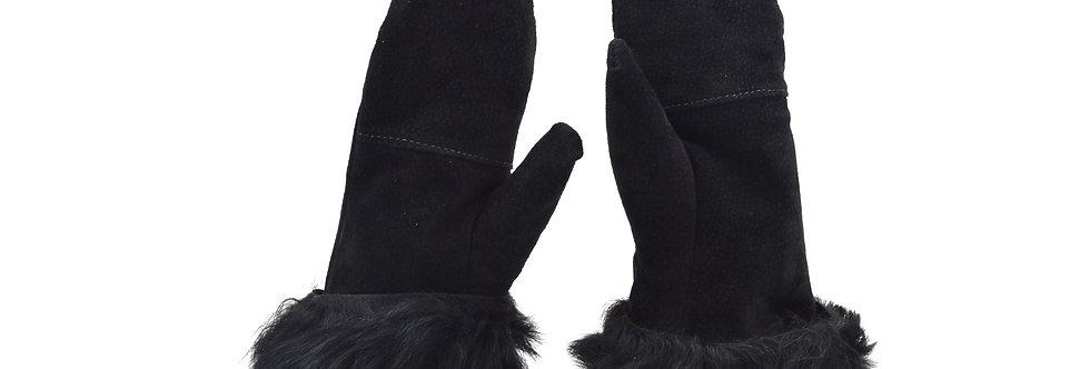 Krznene rokavice - Črna