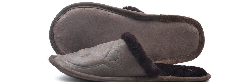 Krzneni Copati z Medvedkom - Temno rjava s temno rjavim krznom