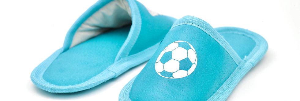 Usnjeni otroški natikači - Turkizne nogometne žoge