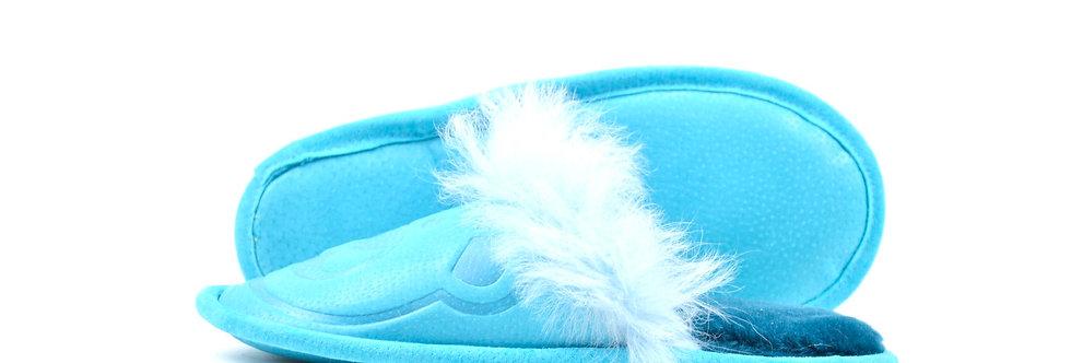 Krzneni Copati z Medvedkom - Turkizno modra