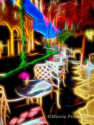 Café of Light in Electric Night