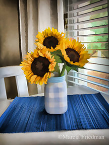 Sunflowers  in a Checkered Vase