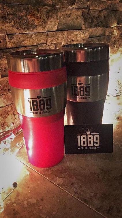 1889 Coffeee House Helna Montana coffee tumblers and gift cards
