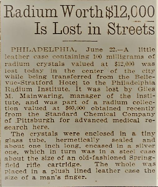 radium lost radium pittsburgh article cr