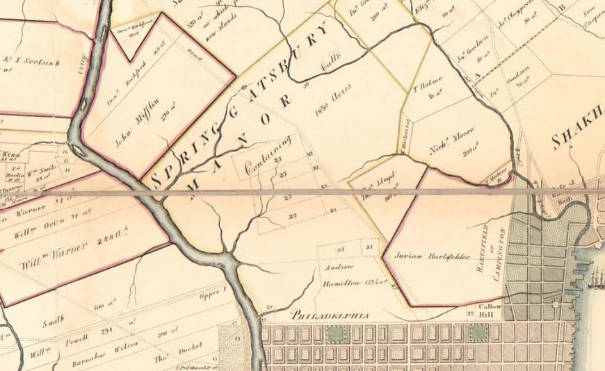 springettsbury manor 1774 map loc.png