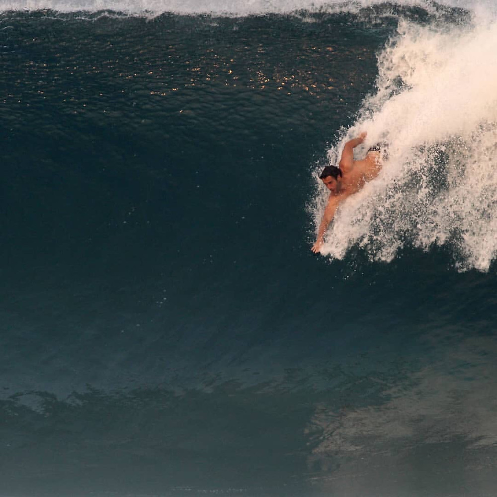 Joel Badina bodysurfing Puerto Escondido.  Photo by Miguel Diaz Westside