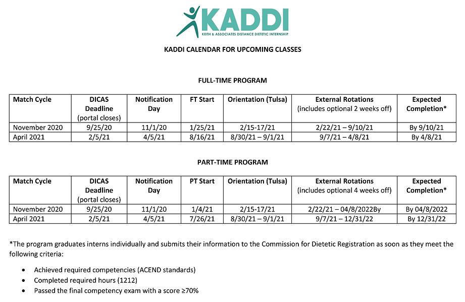 KADDI CALENDAR FOR UPCOMING MATCH CYCLES
