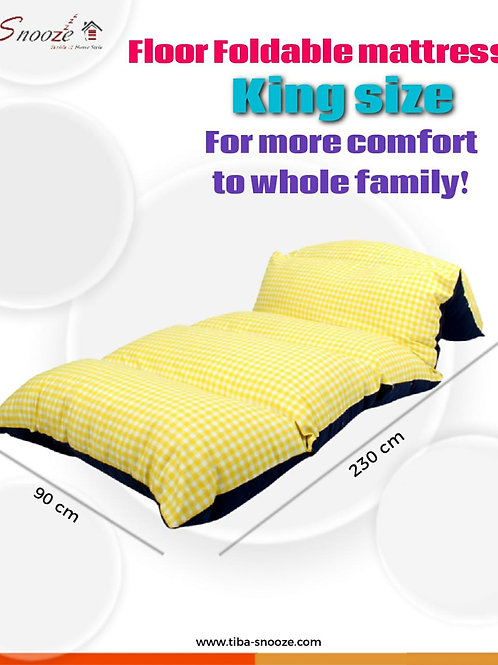 Floor Foldable  mattress (yellow checks design) - مرتبه أرضيه قابله للطي