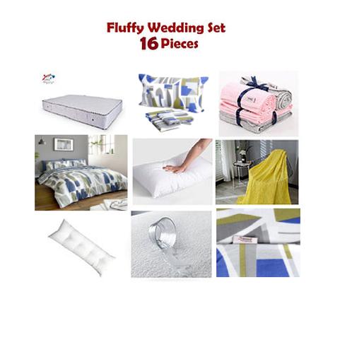 Fluffy Wedding Set 16 Pieces - مجموعة فرش سرير 16 قطعه