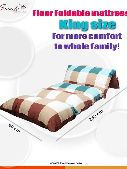 Floor Foldable  mattress (Caro brown design) - مرتبه أرضيه قابله للطي