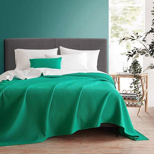 Pure Cotton Coverlet - Dark Green -   كوفرته قطن خالص - أخضر غامق