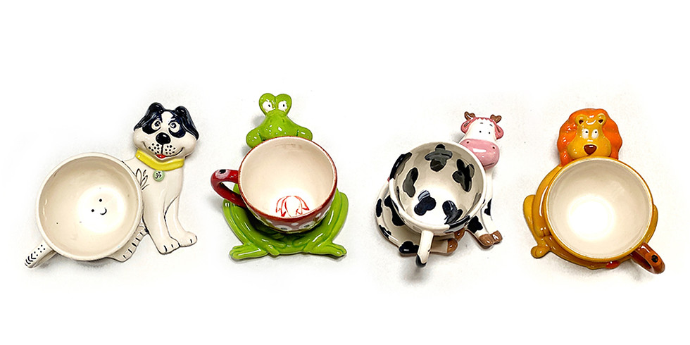 Kids Pottery Painting (Cup with Animal Saucer)