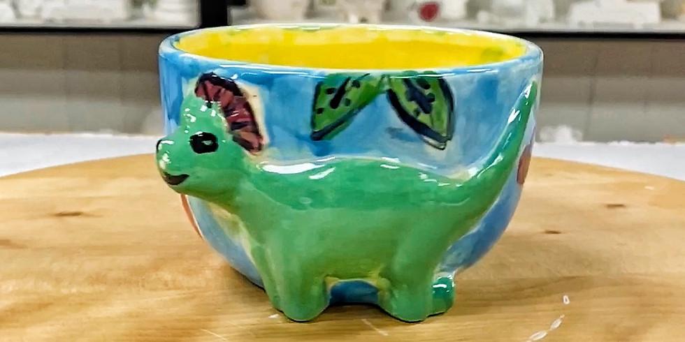 Kids Pottery Painting (Dinosaur Bowl)